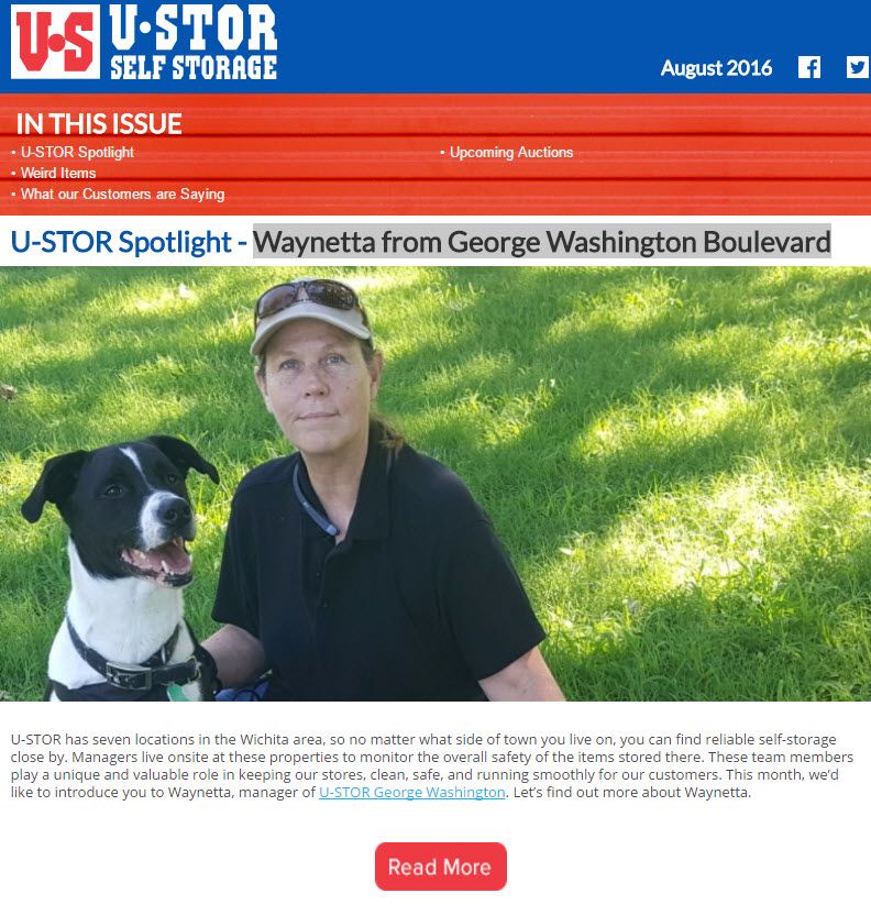 August Newsletter - U-STOR Spotlight - Waynetta from George Washington Boulevard