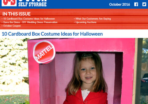 U-Stor October Newsletter - 10 Cardboard Box Costume Ideas for Halloween and MORE