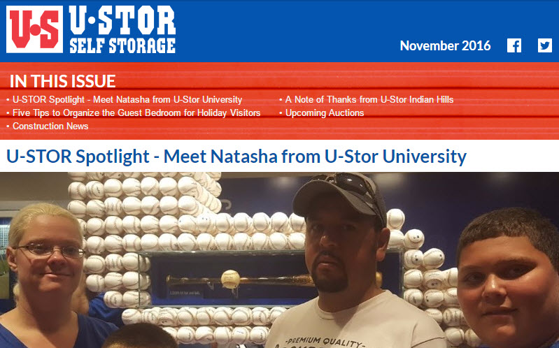 U-Stor November Newsletter - U-STOR Spotlight, Five Tips to Organize the Guest Bedroom and MORE