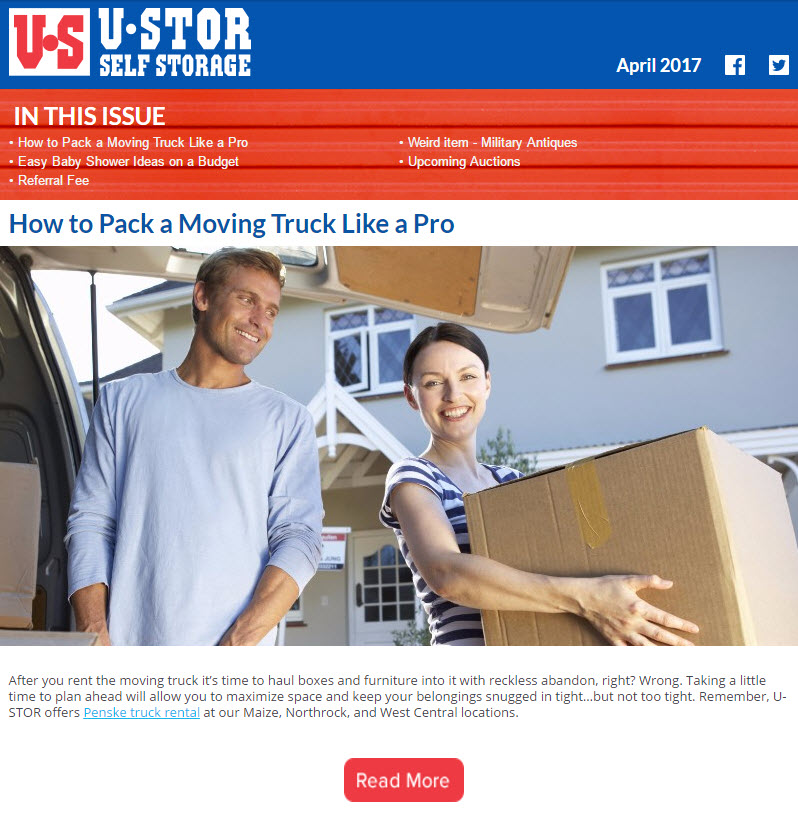 April Newsletter - How to Pack a Moving Truck, Easy Baby Shower Ideas and MORE!